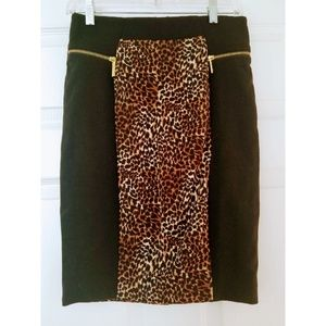 Black Leopard Michael Kors Pencil Skirt size 2